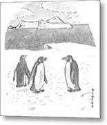 Penguins On Antarctica Metal Print