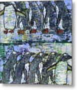 Penguins On Parade Metal Print