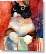 Pensive Calico Tubby Cat Watercolor Painting Metal Print