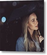 Pensive Woman Outdoors In Rainy Night Metal Print