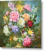 Peonies And Mixed Flowers Metal Print