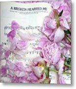 Peonies On Music Sheet - Pink Peonies Shabby Chic Inspirational Print - Peony Home Decor Metal Print