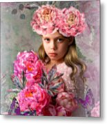Peony Flower Child Metal Print