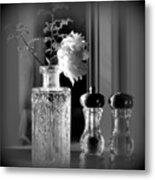 Peony In A Crystal Vase On The Dining Table Metal Print