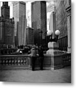 People And Skyscrapers Metal Print