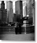 People And Skyscrapers - Square Metal Print