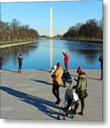 People At The Reflecting Pool Metal Print