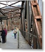 People Crossing Old Yugoslav Weathered Metal Bridge Crossing In Bosnia Hercegovina Metal Print