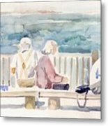 People On Benches Metal Print