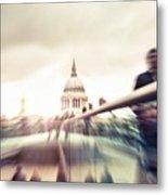 People On Millennium Bridge In London Metal Print