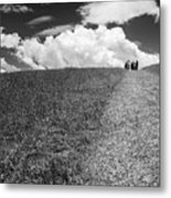 People On The Hill Bw Metal Print