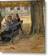 People Sitting On A Bench In Bezuidenhout. The Hague Metal Print