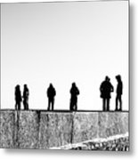 People Standing In Groups Abstract Monchrome Metal Print