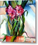 Peppermint Carnations Metal Print