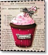 Peppermint Stick Christmas Cupcake Metal Print