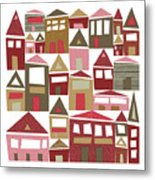 Peppermint Village Metal Print
