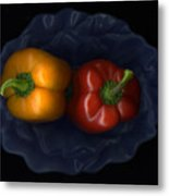 Peppers And Blue Bowl Metal Print