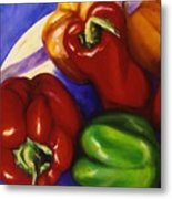 Peppers In The Round Metal Print