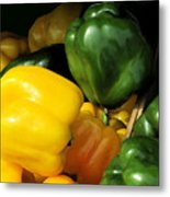 Peppers Yellow And Green Metal Print