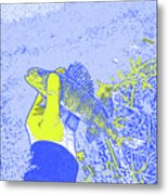 Perch Blue Yellow Metal Print