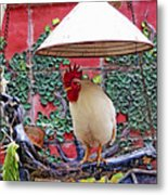 Perched Rooster Metal Print