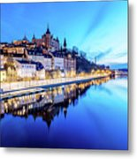Perfect Sodermalm And Mariaberget Blue Hour Reflection Metal Print