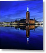 Perfect Stockholm City Hall Blue Hour Reflection Metal Print