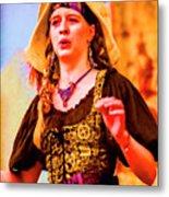 Performer Singing On Stage - In Watercolor Photo Metal Print