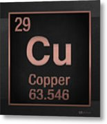 Periodic Table Of Elements - Copper - Cu - Copper On Black Metal Print