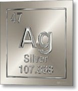 Periodic Table Of Elements - Silver - Ag Metal Print