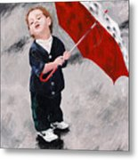 Perry In The Rain Metal Print by Denise H Cooperman
