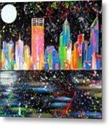 Perth Skyline Alla Pollock  Metal Print