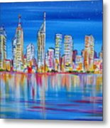 Perth Skyscrapers Skyline On The Swan River Metal Print