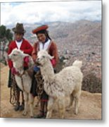 Peruvian Girls With Llamas Metal Print