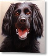 Pet Portrait Of A Black Labrador Metal Print