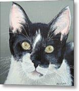 Pet Portrait Painting Commission Tuxedo Cat  Metal Print