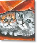 Pet Portraits-two Kitties Metal Print
