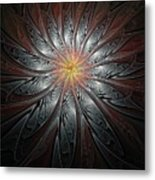 Petals In Pewter Metal Print