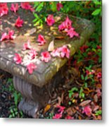 Petals On A Bench Metal Print