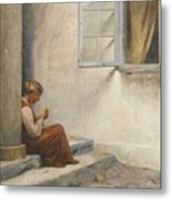 Peter Ilsted Danish, 1861-1933, On The Porch, Liselund Metal Print