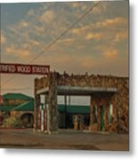 Petrified Gas Station After Rain Metal Print