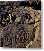 Petroglyphs In Kalahuipuas Historic Metal Print
