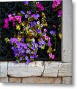 Petunias Through Wrought Iron Window Metal Print