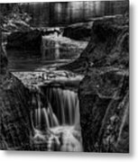 Pewits Nest Waterfalls In Black And White Metal Print