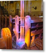 Pews Under Stained Glass Metal Print