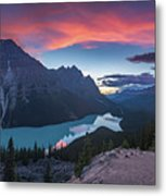 Peyto Lake At Dusk Metal Print
