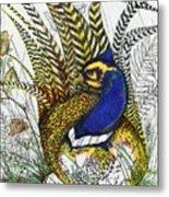 Pheasant Blue Metal Print