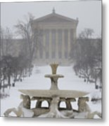 Philadelphia Art Museum From The West In Winter Metal Print