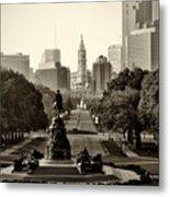 Philadelphia Benjamin Franklin Parkway In Sepia Metal Print by Bill Cannon