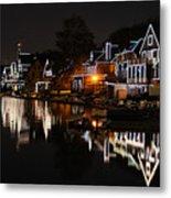 Philadelphia Boathouse Row At Night Metal Print